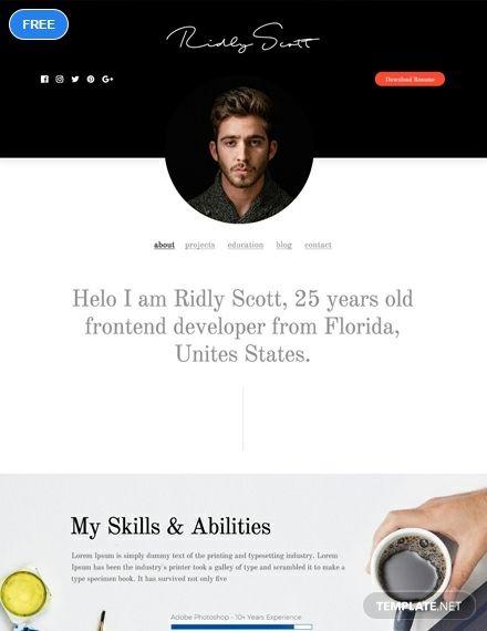 Free Resume and Portfolio Website | Photoshop (PSD) Website