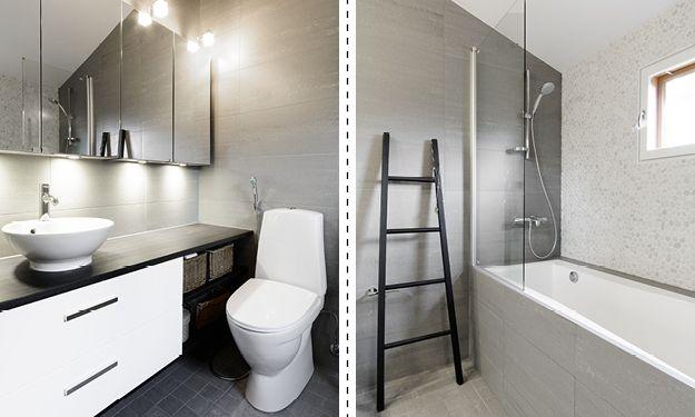 Pesuhuone ja saunan lattia, erillinen kylpyhuone, erillinen wc ja kodinhoitohuone, yht. n. 25 m².  Laidasta laitaan kulkevilla, kontrastia luovilla tummilla tasoilla ja valkoisilla alakaapeilla on saatu aikaan paljon lasku- ja säilytystilaa.