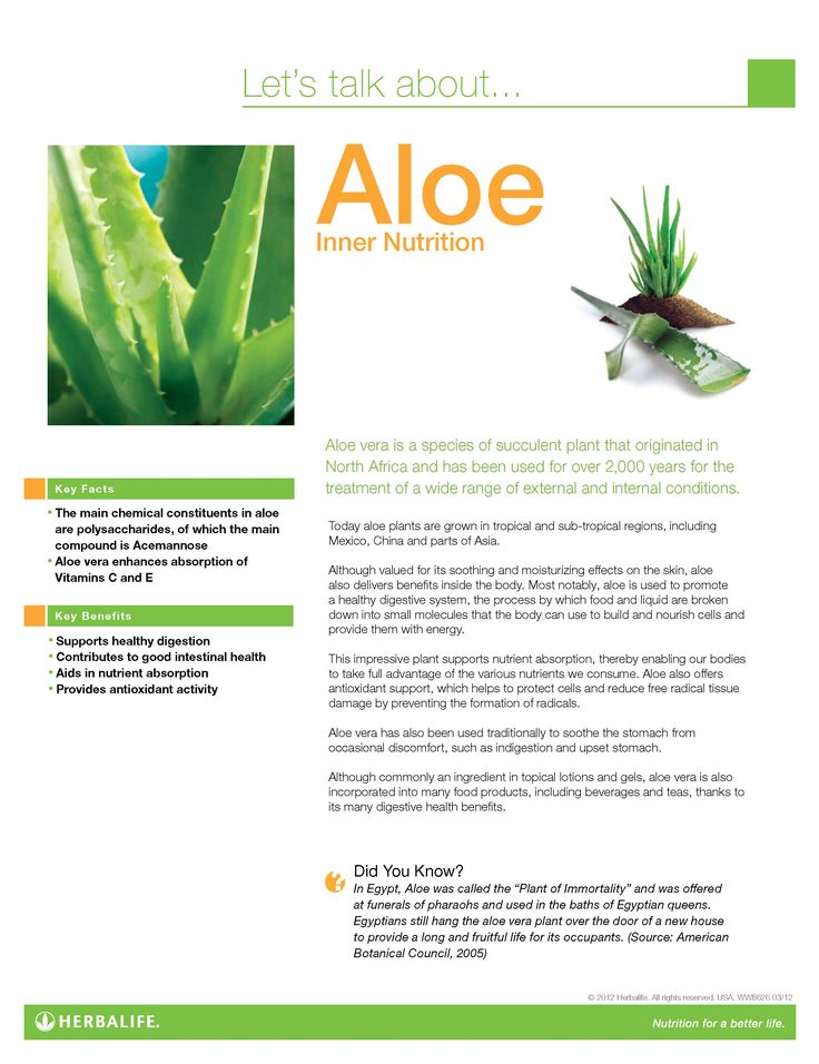 Aloe Fact Sheet www.goherbalife.com/brookemaske