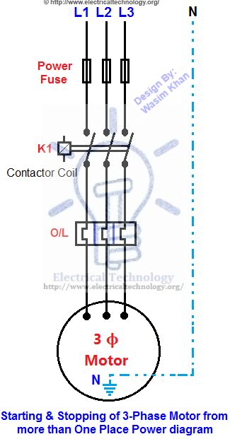 Starting  Stopping of 3-Phase Motor from more than One Electric