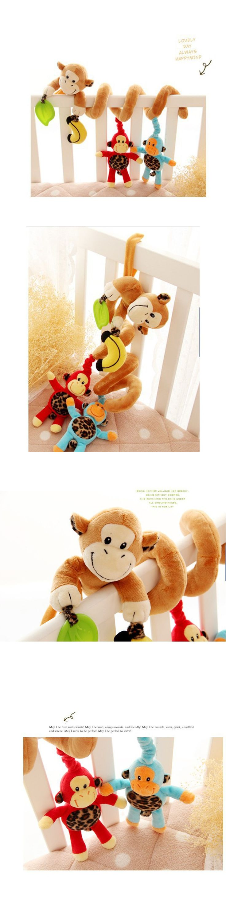 Baby toy musical monkey bed around the vibrating around the bed bell hanging musical plush beds bell ring the bell