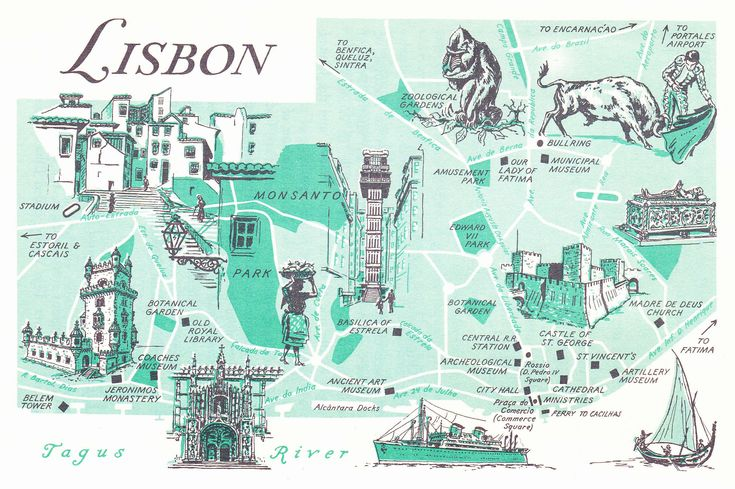 Old Map of Lisbon, Portugal