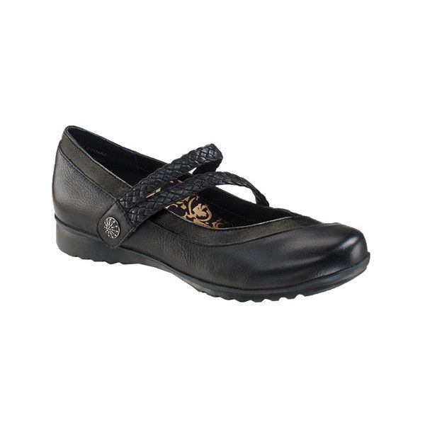 Women's Aetrex Ada Braided Mary Jane ($130) ❤ liked on Polyvore featuring shoes, black, casual, casual shoes, velcro shoes, mary-jane shoes, black shoes, black low wedge shoes and black mary jane shoes