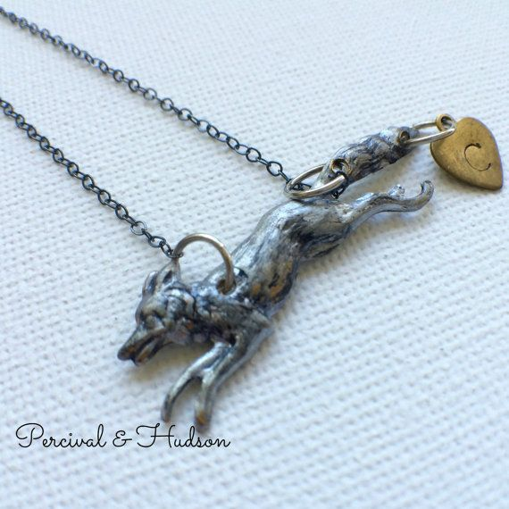 Personalized Fox Necklace Silver Fox Necklace by PERCIVALandHUDSON