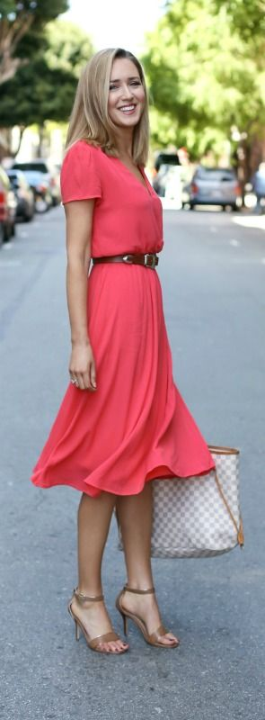 What to wear on casual Friday at work coral midi dress, nude heeled ankle strap sandals, brown waist belt, checkered tote handbag
