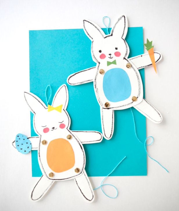 Easy Easter crafts for kids: bunny puppets by Oh Happy Day for Pottery Barn Kids: Crafts For Kids, Bunnies Crafts, Easter Crafts, Easter Bunnies, Jumping Jack, Jack O'Connel, 15 Spring Them, Pottery Barns Kids, Diy Projects