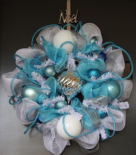Mesh Christmas Wreaths | White and Blue Chrismas Deco Mesh Wreath | My Christmas