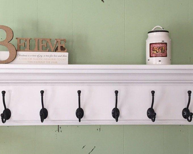 36 Inch White Coat Rack Shelf With Satin Chrome Hooks Wall Hanging Shelf In 2020 Wood Wall Shelf Wall Racks Rack Shelf
