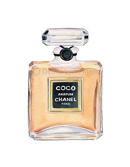 Coco Chanel Perfume Bottle Print. $10.00, via Etsy.