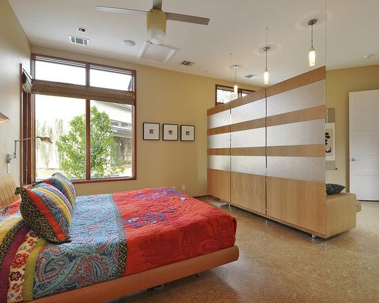 home decoration contemporary bedroom with red fabric