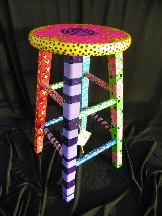 Painted stool.