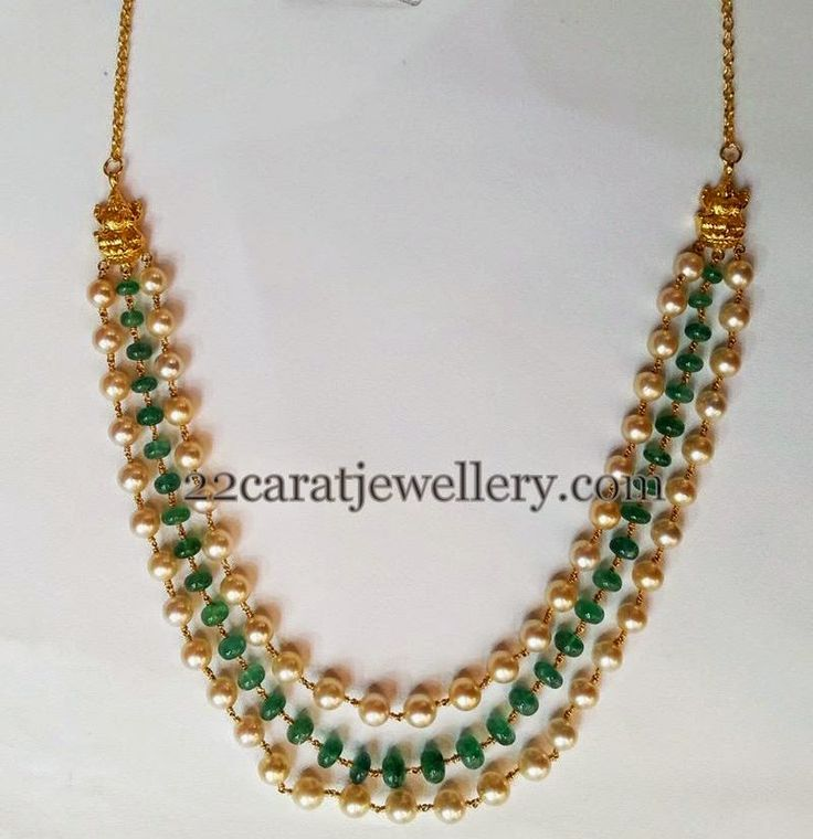 Jewellery Designs: Three Strings Pearls Emeralds Set