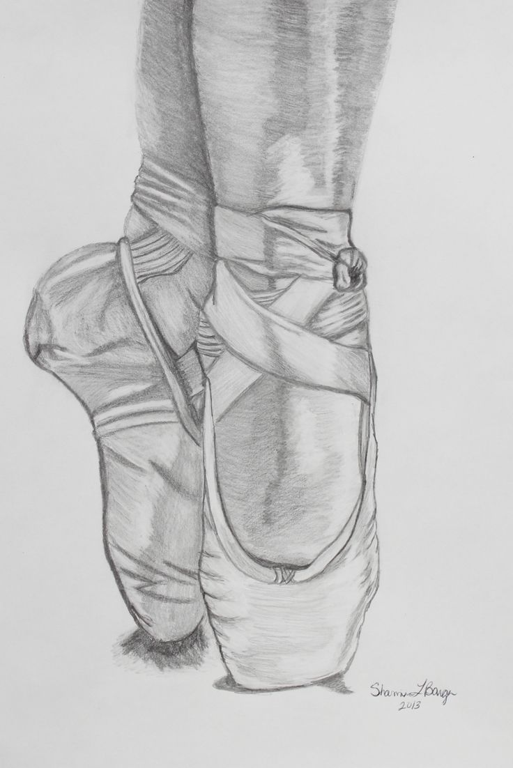 Ballerina Shoes.  Pencil Drawing                                                                                                                                                      More