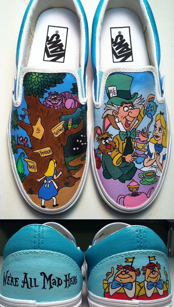 I might literally kill someone for these. Alice in Wonderland Shoes by KissaThisArt on Etsy, $135.00