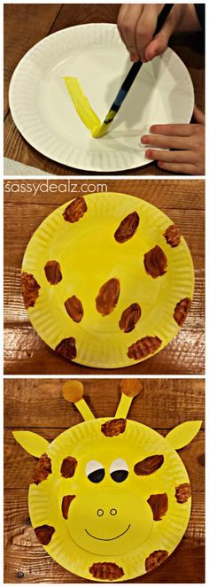 Giraffe paper plate craft for kids! Could use for a zoo theme unit etc. #DIY | http://www.sassydealz.com/2014/02/giraffe-paper-plate-craft-kids.html