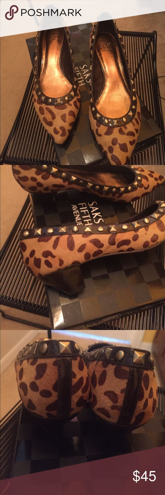 Leather LEOPARD SMALL HEEL Saks 5th Ave Sz 9.5.  They were just a wee bit tight so worn only twice for like an hour each time!!   Bought on sale for $169 Saks Fifth Avenue Shoes Heels