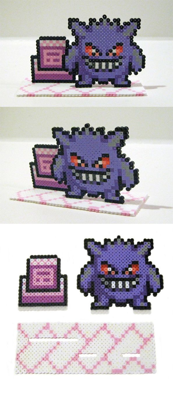 Perler Bead Gengar with Pokemon Tower Stand by NerdyNoodleLabs on DeviantArt