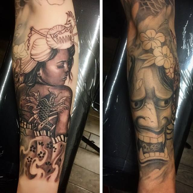 Chronic Ink Tattoo - Toronto Tattoo  Geisha (in progress) and Hannya mask tattoo done by Damon.