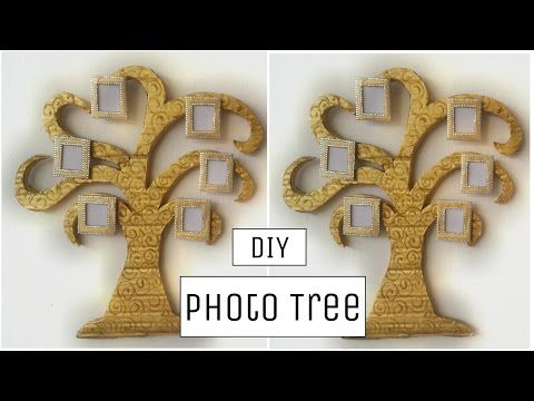 DIY Crafts: Innovative cardboard photo tree wall hanging - Best out of waste! - YouTube