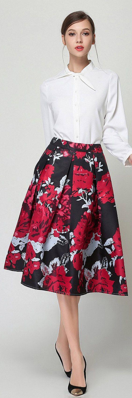 Saia Midi Godê Rodada Evase Estampada Floral Cintura Alta com Pregas Preta Vermelha para Festa Casamento | UFashionShop