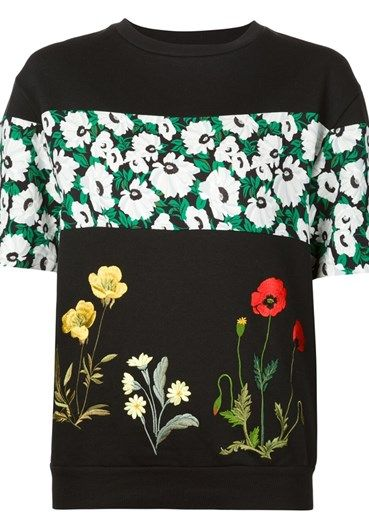 Black cotton #floral #sweater from #StellaMcCartney featuring a round neck, short #sleeves and embroidered details. @stellamccartney http://bit.ly/1QdTXRV