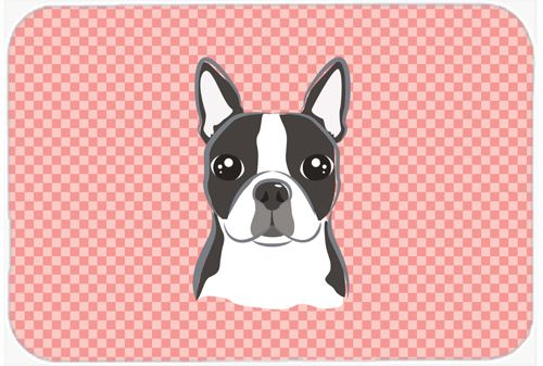 Checkerboard Pink Boston Terrier Mouse Pad - Hot Pad or Trivet BB1203MP #artwork #artworks