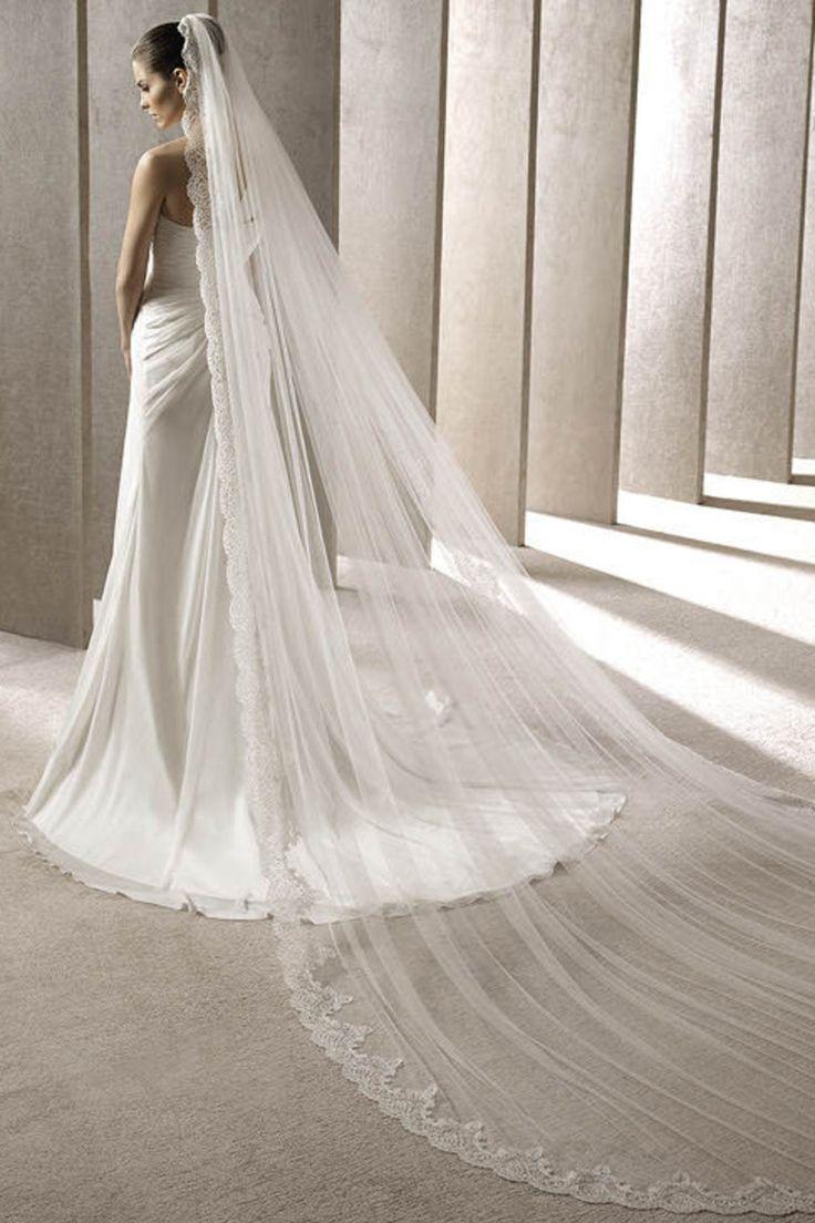 One Layer Lace Edge Long Wedding Veil V023 USD 29.99 EPPGJA6XP4 - ElleProm.com