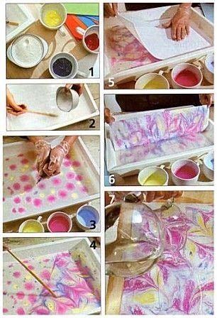 Papiers marbrés avec de la colle à papier peint
