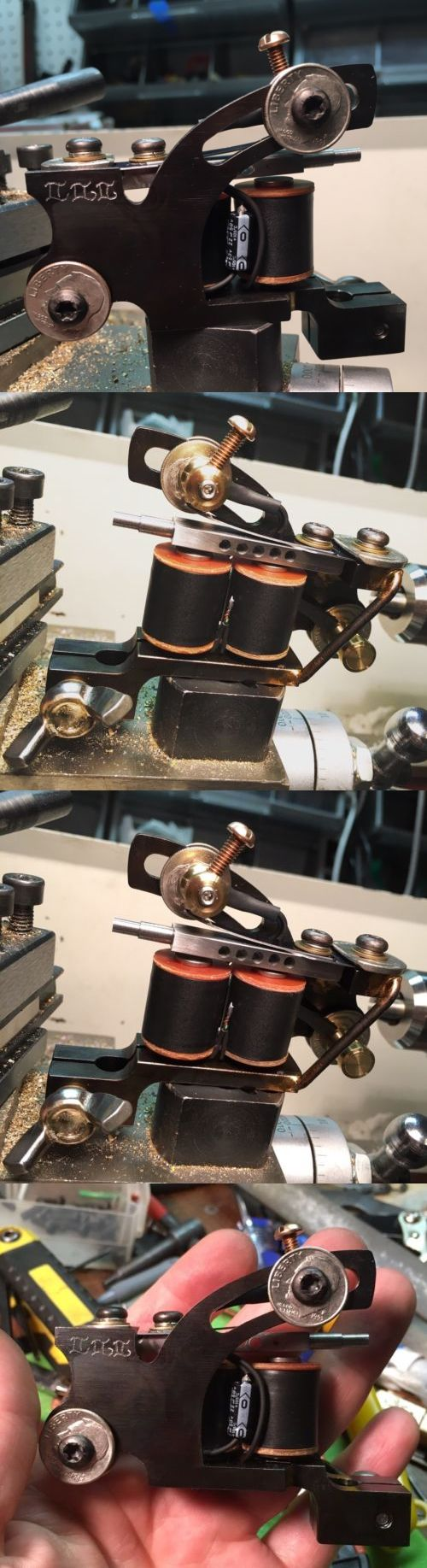 Tattoo Machines and Parts: Illadelphia Irons Tattoo Machine Liner Rollomatic Coil Mike Wolfinger Art BUY IT NOW ONLY: $249.0