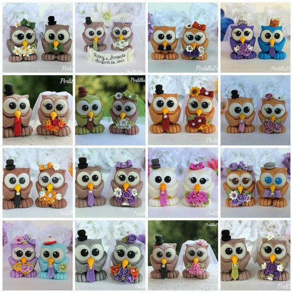 Love bird owl wedding custom cake topper by PerlillaPets on Etsy