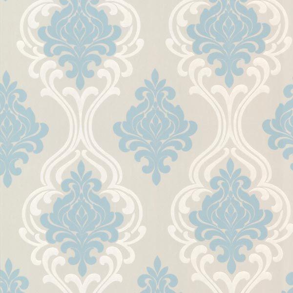 2533 20214 Light Blue Damask Wallpaper