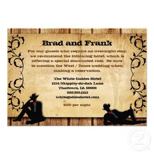 Cowboy Grooms Custom Gay Wedding Accommodations Cards #gaywedding #gaycowboys #gaymarriage #gayrodeo