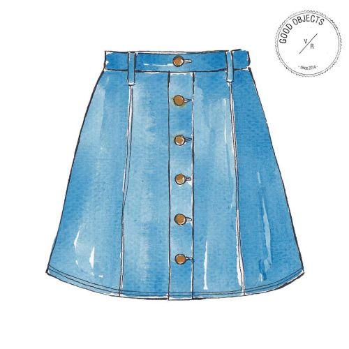Good objects - Trending : denim skirt. it's everywhere! #goodobjects #denimskirt #illustration