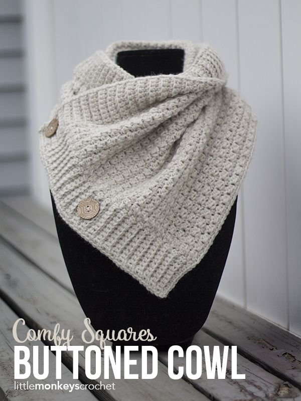 Comfy Squares Buttoned Cowl Crochet Pattern   Free button cowl crochet pattern by Little Monkeys Crochet   made with Lion Brand Wool-Ease Yarn