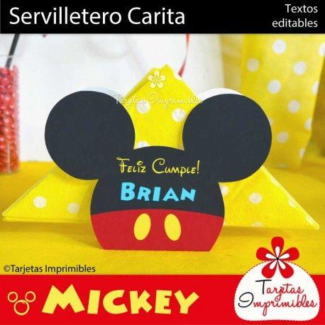 Servilletero con la siluetade la cabezade Mickey Mouse, para colocar en el centro de la mesa.
