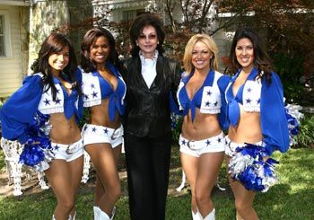 The Dallas Cowboys Cheerleaders Arrive at the Lupton Ranch with Gene Jones (wife of Cowboys owner, Jerry Jones).