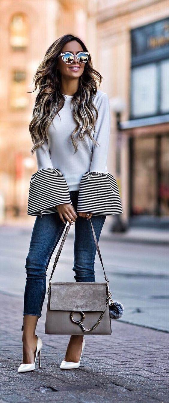 Estupendo Pull donde los piños grandes en forma de campana y en rayas le dan el toque elegante y Especial❤..... Lo cual da a este look un Style Casual chic que no dejará indiferente a nadie