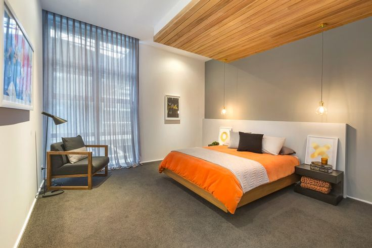 Timber feature gave this bedroom personality. But again the Boys show their talent in the styling. Pendant lights, artwork - brilliant