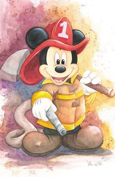 Michelle St. Laurent - Mickey Mouse - Fireman Mickey - world-wide-art.com