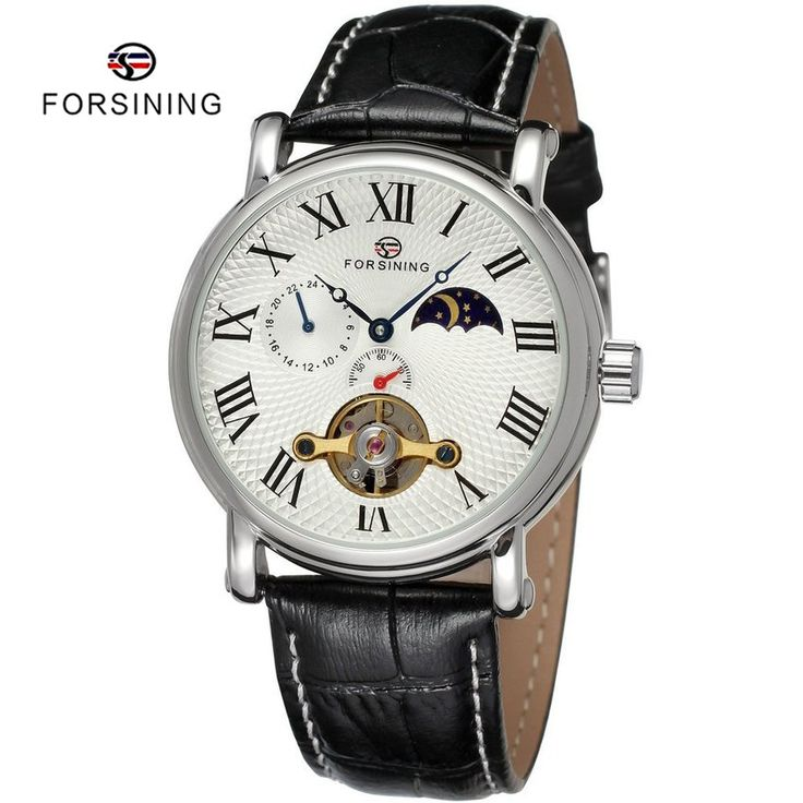 Find More Mechanical Watches Information about 2 Colors FORSINING Brand Luxury Leather Automatic Mechanical Mens Tourbillon Watch for Men Moon Phase Clock relogio masculino,High Quality watch player,China watch tourbillon Suppliers, Cheap watch necklace from YIKOO Watches Store on Aliexpress.com