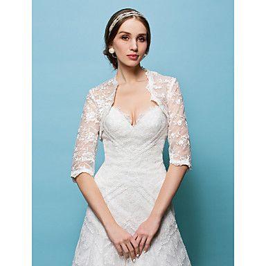 bruiloft wraps bolero kant wit / beige bolero schouderophalen – EUR € 32.29