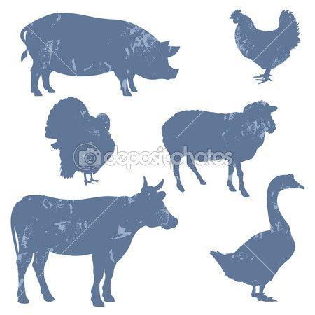 сельскохозяйственные животные, векторные силуэты — Векторная картинка #12141652