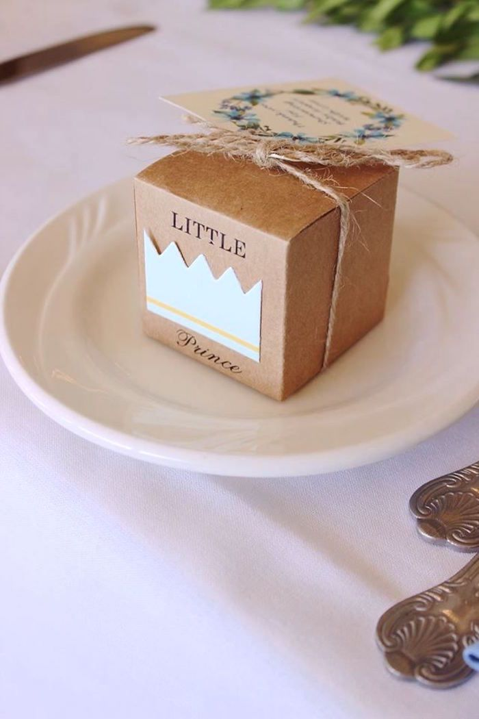 """Little Prince favor box from a """"Oh Baby"""" Boy Baby Shower on Kara's Party Ideas 