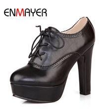 ENMAYER Mujeres Calientes Botas Nuevos Zapatos de tacón alto Botines para Las Mujeres de LA PU de Punta Redonda Recortes Plataforma bombas de Gran Tamaño 34-43(China (Mainland))