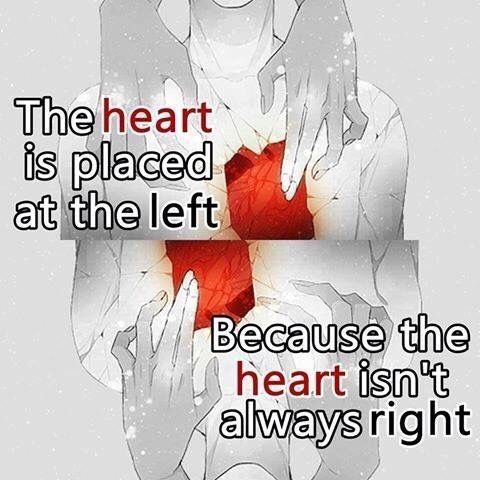 ~the heart is placed on the left because the heart isn't always right~