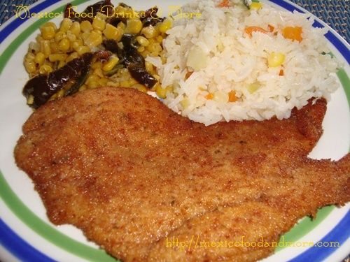 Chicken Milanese (Milanesa de Pollo). Find the recipe here: http://mexicofoodandmore.com/meat/chicken/chicken-milanesa-milanesa-de-pollo.html
