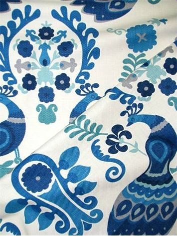 """Bellando Marine - Richloom Fabric - 100% cotton heavy slubby basket fabric with transitional floral & peacock print. Prefect for upholstery fabric, drapery fabric or bedding fabric. 36"""" repeat. 54"""" wide."""