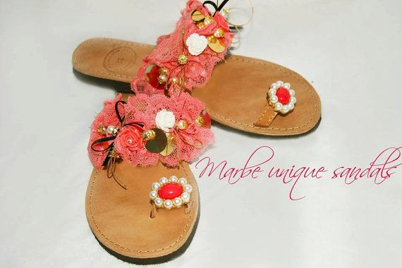 Coral. Coralized Greek leather sandals in by MarbeUniqueHandcraft