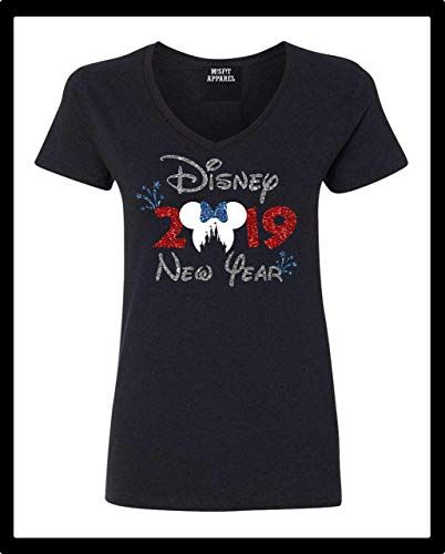 dfdd1ad2aa2 2019 Minnie Head Fireworks Disney New Year Glitter Long or Short  Sleeve Regular and Plus Sizes