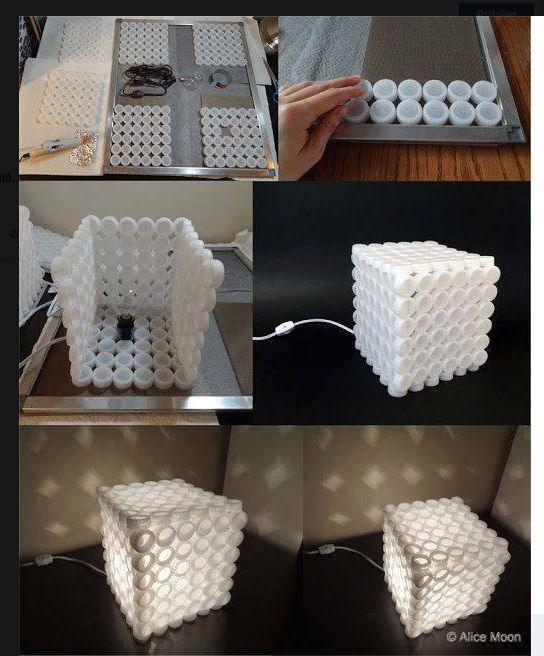 une lampe partir de bouchons de bouteilles plastiques bricolage pinterest cr atif. Black Bedroom Furniture Sets. Home Design Ideas